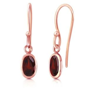GOLD FISH HOOK EARRINGS WITH GARNETS